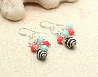 Bee Hive Shell Earrings / Beachy Boho Earrings / Sea Shell Earrings / Tropical Earrings / Beach Wedding / Pearl Earrings / Dangle Earrings