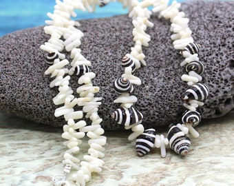 White Coral and Bee Hive Shell Necklace Beach Wedding Jewelry, Beach Jewelry, Shell Necklace White Shell Necklace