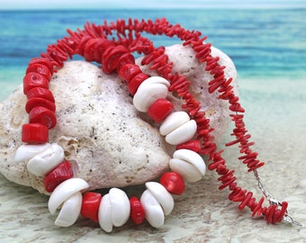 Red Coral and Large Puka Shell Necklace, Red Coral, Puka Shell Necklace, Beach Wedding Jewelry, Beach Jewelry, Shell Necklace