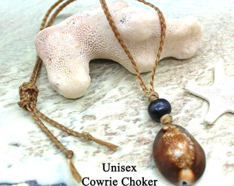 Unisex Cowrie Shell Choker / UNISEX / Faux Sinew Choker / Beach Jewelry / Surfer Necklace / Cowrie Shell Necklace / Shell Necklace / Choker