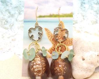 Cowrie Shell Earrings / Beachy Boho Earrings / Sea Glass Earrings / Monstera Leaf Earrings / Tropical Earrings / Beach Wedding