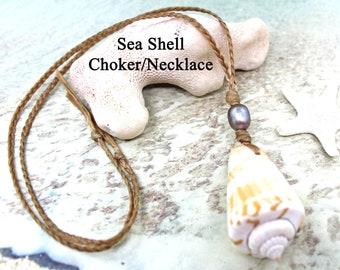 Unisex Sea Shell Choker Necklace / UNISEX / Faux Sinew Choker / Beach Jewelry / Surfer Necklace / Shell Necklace / Choker