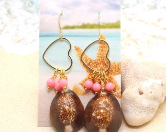 Cowrie Shell Heart Earrings / Beachy Boho Earrings / Monstera Leaf Earrings / Tropical Earrings / Beach Wedding / Pink Coral