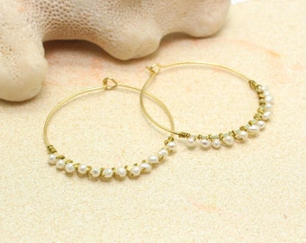 Wire Wrapped Pearl Earrings / Gold Hoop Earrings Wire Wrapped with Small White Freshwater Pearls / Gold Hoops
