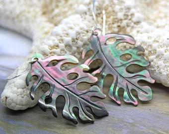 Leaf Earrings, Split Leaf Philodendron Earrings, Dangle Earrings, Beach Jewelry, Sea Shell Earrings, Mother of Pearl Earrings