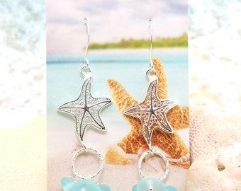 Silver Starfish Earrings / Beachy Boho Earrings / Sea Glass Earrings / Tropical Earrings / Beach Wedding