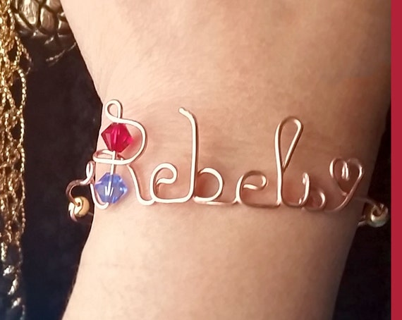 Wire Name Bangle Team Bracelet- Custom made, Expandable with Swarovski Cystal Birthstones