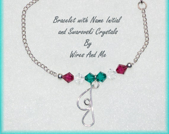 Personalized Initial Monogram Bracelet with Swarovski Crystal Birthstones - Unique Valentine's Day Gift