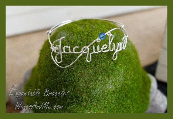 Name Bracelet, Custom Bracelet, Expandable Bracelet, Name Bangle, Name Bangle, Name Jewelry, Personalized Bracelet