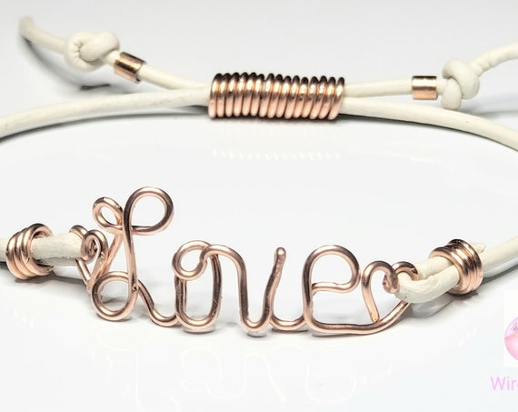 Wire Name Bracelet, Wire Name Bracelet in Leather/Fax suede Bracelet, Adjustable Bracelet