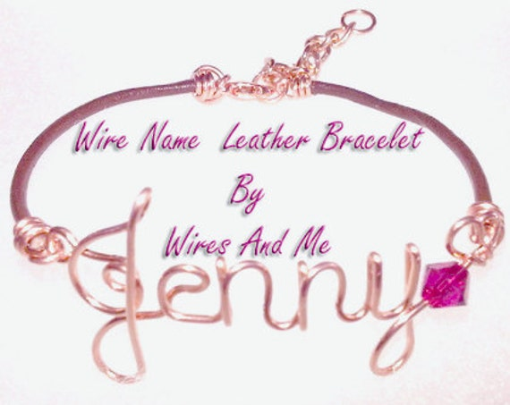Wire Name Leather Bracelet with Swarovski Birthstone