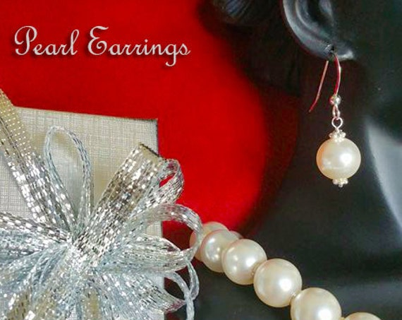 Pearl Earrings, Elegant Earrings, Bridal Earrings, Sterling Silver Earrings, Dangling Earrings