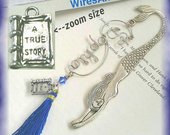 Wire Name Bookmark Mermaid Bookmark with Swarovski Crystal birthstones, charms, tassel,  Libra, Blue Sapphire