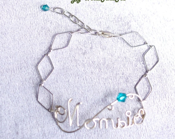 Wire Name Bracelet, Momsie Bracelet with Swarovski Crystal Birthstone