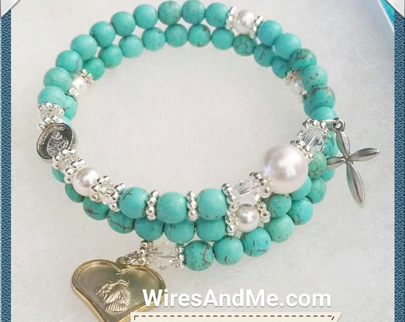 5-Decade Rosary Bracelet - Turquoise with Swarovski Crystal Pearls and Silver Daisy Flower beads, St Anthony medal with Holy Cross
