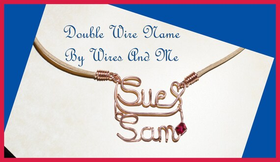 Personalized Wire Name Necklace Two Name - With or Without birthstones