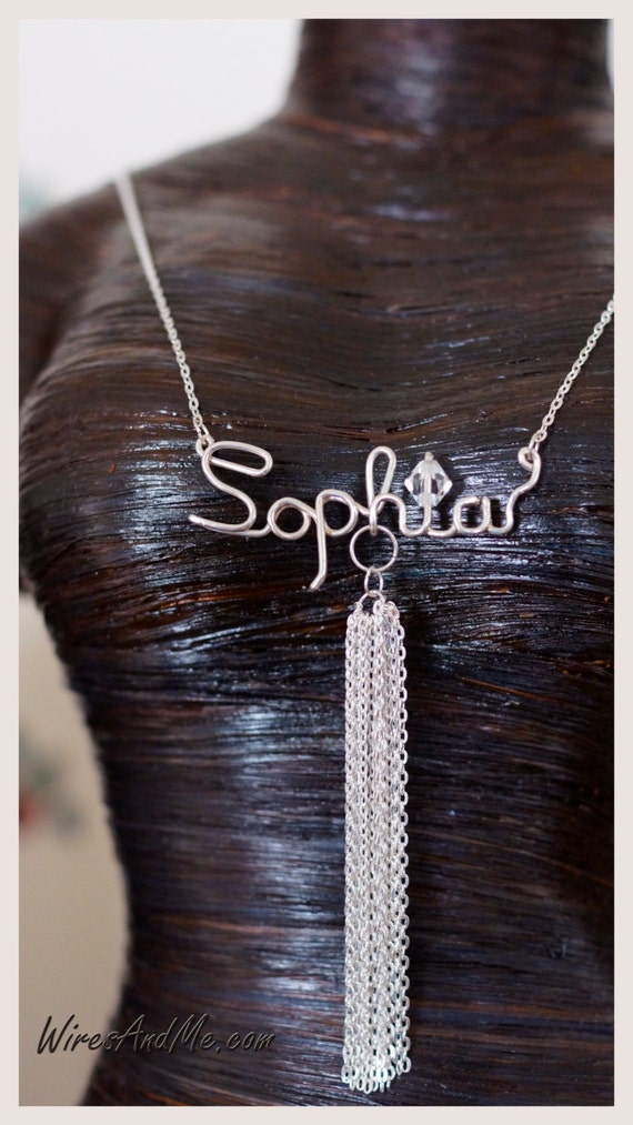 name necklace personalized, custom name necklace, personalized necklace, name necklaces, Tassel Necklace
