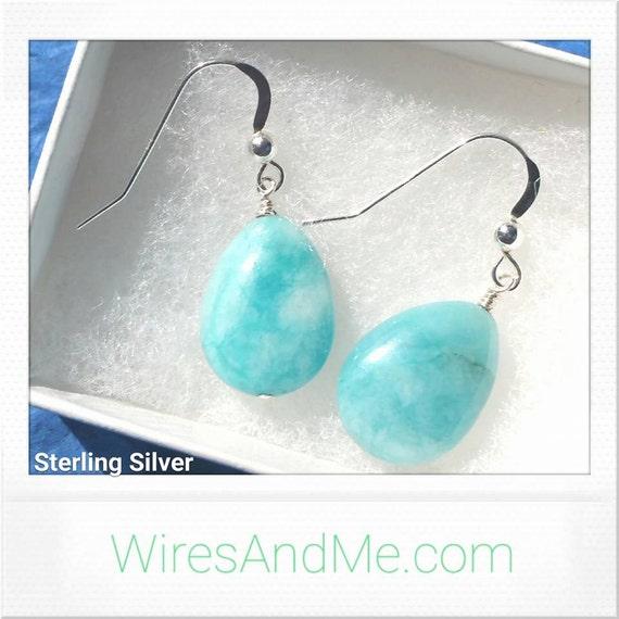 Turquoise Earrings, Elegant Earrings, Sterling Silver Earrings, Dangling Earrings Simple Earrings Succulent Earrings