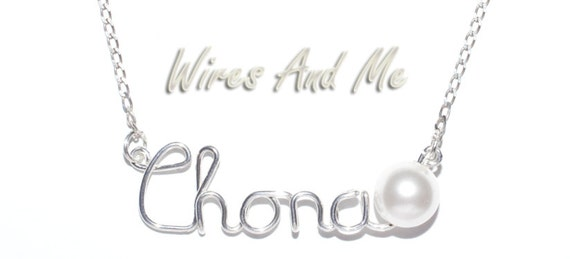 Personalized Wire Name Necklace with Swarovski Crystal Pearl, Pearl Necklace
