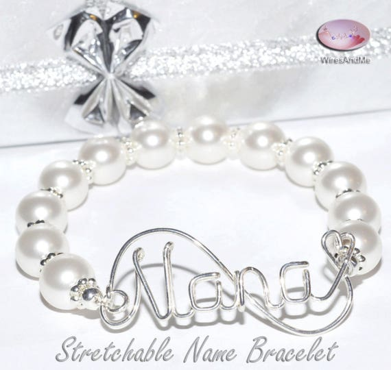 Wire Name Pearl Bracelet Stretchable Name Bracelet with Pearls Unique Gifts