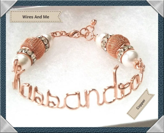 Wire Name Bracelet with Metal Mesh Beads and Crystal Rhinestones Rondelles