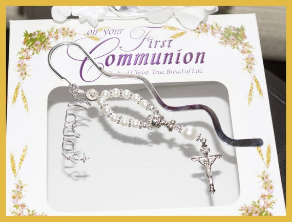 Religious Name Rosary First Communion Gift, Confirmation , Graduation Gift, One Decade Rosary Bookmark, Book Accessories