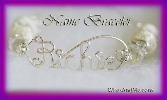 Personalized Wire Name Bracelet w/Metal Mesh Beads, Crystal Rhinestones, Rondelle, pearl bracelet, pearl bangle- Mother's day Gift