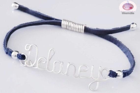 Personalized Name Bracelet, Wire Name Bracelet, adjustable Bracelet, Sophia Name Bracelet, Denim tone faux suede cord, Sophia Bracelet