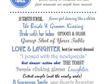 Wedding I Spy - PRINTABLE Wedding Reception Game - (DIGITAL FILE)
