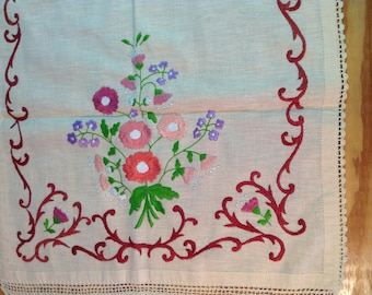 Traditional Greek handmade embroidered table runner with crochet edge