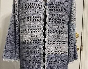 Uptown chic crochet cardigan in stonewash