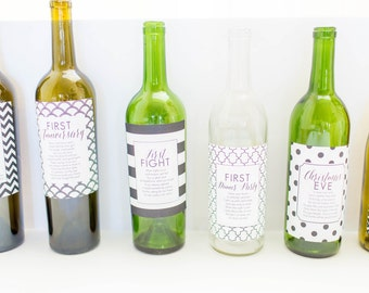 Wine Label Set of Wedding Couple Firsts (First Baby, First Christmas Eve, First Anniversary, First Fight, Wedding Night, Honeymoon & More