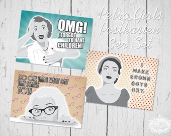"Illustration Typo ""Retro Comic Girls"" Postkarten 3er-Set by cute as a button"