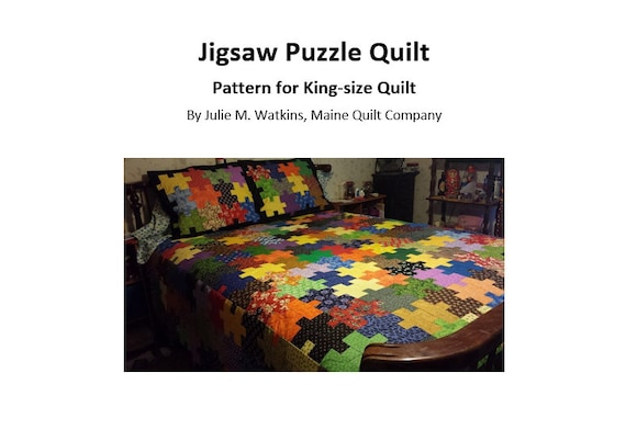 Jigsaw Puzzle Quilt Pattern King Size Digital PDF File For