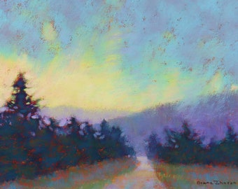 Art. Maine Art. Greenville, Maine painting. Original art. Landscape painting.Original painting. Pastel Painting. Enjoy gifts of Maine!