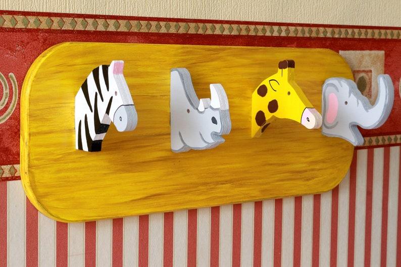 Colorful children's wardrobe with zebra rhino giraffe image 0