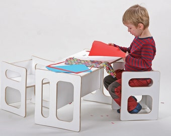 Play table TIM and two play chairs CHARLIE lacquered in white, for the modern children's room, for the toddler, in wood
