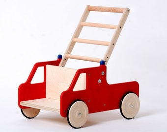 Baby walker FERDINAND height-adjustable Fire brigade colored red, with this sliding car as ladder wagon learns your child to walk playfully