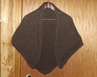 Handknit Brown Wool Shawl, Soft Triangular Wrap, Bulky, Old Fashioned, Victorian, Prairie, Country, Civil War, Costume Shawl, HAND WASH Only