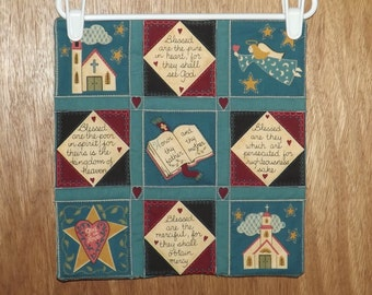 "Small Scripture Wall Quilt,  11 1/2"" Square, Teal, Cream & Burgundy Wall Hanging, Bible Verses, Angel, Church and Hearts, Country Blessings"