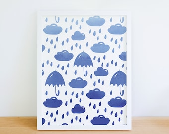 Watercolour Rainy Days Art Print l Cloud Print l Nursery Print l Kids Bedroom l Rain Print l Blue Clouds l Nursery Art.