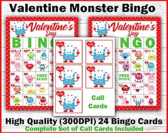 Valentine's Day Bingo - Valentine Monster Bingo - Valentine Bingo For Kids