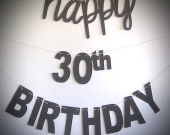 Happy 30th Mantel Cursive Font Birthday BannerCursive And Blocky Letters Black WhiteCursive Banner Party Prop
