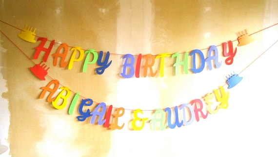 twins birthday happy birthday banner with two names etsy