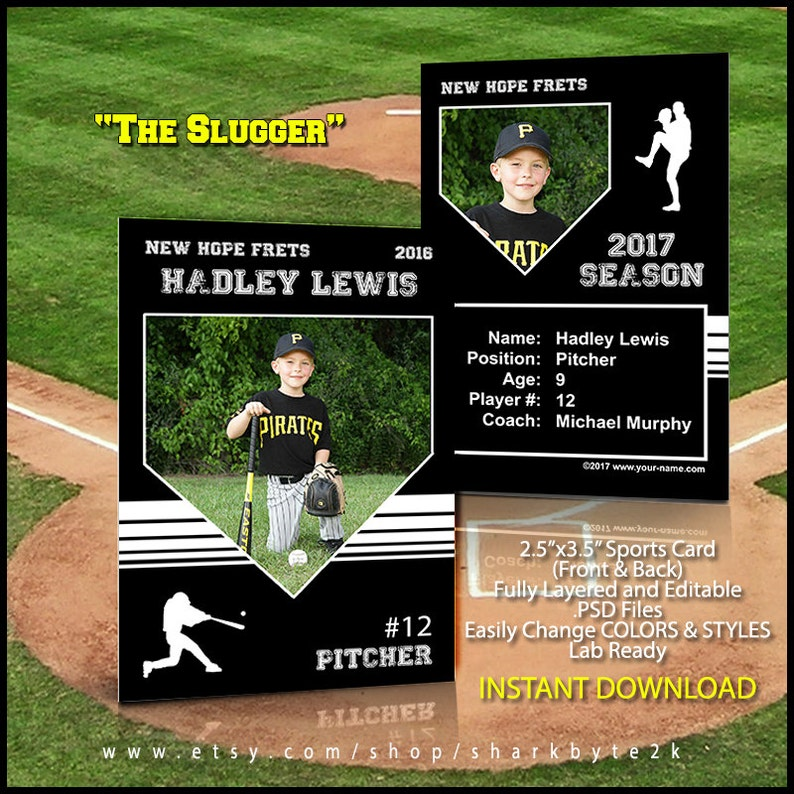 Baseball Card Template Perfect For Trading Cards For Your Team For Use In Photoshop Easily Change Colors And Wording 2019 Season
