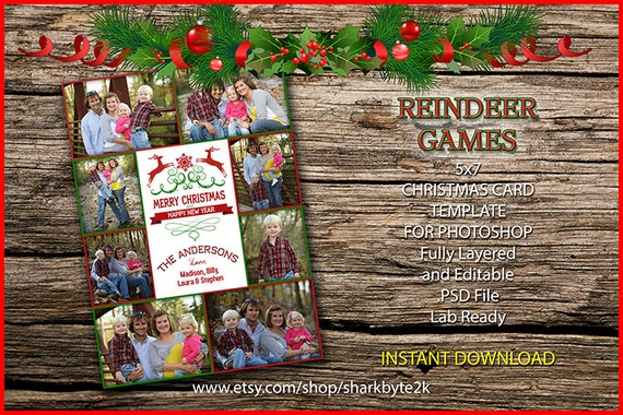 2020 Christmas Card Template For Photoshop Single Sided Easy Etsy