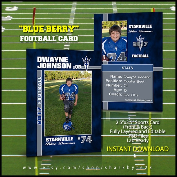 football sports trader card template for photoshop easily etsy