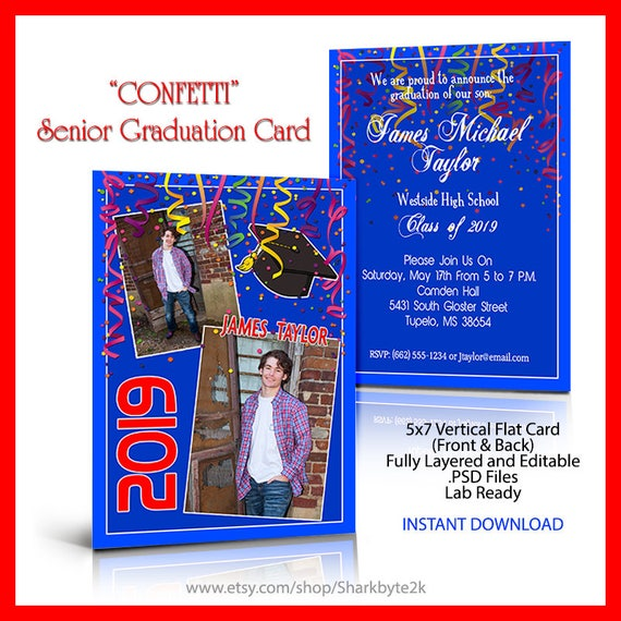 2018 graduation invitation photoshop template 5x7 flat card etsy