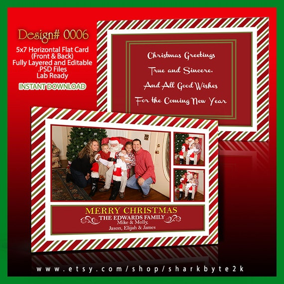 2020 Christmas Card Template Photo Size 5x7 For Photoshop Psd Etsy