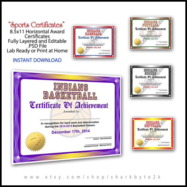 5 In 1 Sports Award Certificate Achievement Photoshop Template Etsy